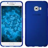 Silikon Hülle Galaxy C7 Pro matt blau + 2 Schutzfolien