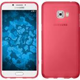 Silikon Hülle Galaxy C7 Pro matt rot + 2 Schutzfolien