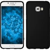 Silikon Hülle Galaxy C7 Pro matt schwarz + 2 Schutzfolien
