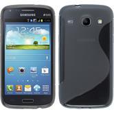 Silikon Hülle Galaxy Core S-Style grau + 2 Schutzfolien
