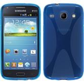 Silikon Hülle Galaxy Core X-Style blau + 2 Schutzfolien