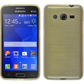 Silikon Hülle Galaxy Core 2 brushed gold + 2 Schutzfolien