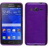 Silikon Hülle Galaxy Core 2 brushed lila + 2 Schutzfolien