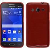Silikon Hülle Galaxy Core 2 brushed rot + 2 Schutzfolien
