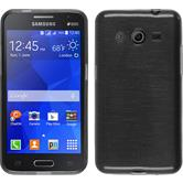 Silikon Hülle Galaxy Core 2 brushed silber + 2 Schutzfolien