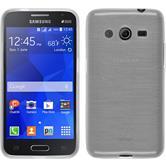 Silikon Hülle Galaxy Core 2 brushed weiß + 2 Schutzfolien