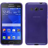 Silikon Hülle Galaxy Core 2 transparent lila + 2 Schutzfolien