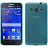 Silikon Hülle Galaxy Core 2 transparent türkis + 2 Schutzfolien