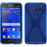 Silikon Hülle Galaxy Core 2 X-Style blau + 2 Schutzfolien