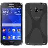 Silikon Hülle Galaxy Core 2 X-Style grau + 2 Schutzfolien