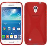 Silikon Hülle Galaxy Core Lite X-Style rot + 2 Schutzfolien