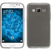 Silikon Hülle Galaxy Core Prime Iced grau + 2 Schutzfolien