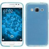 Silikon Hülle Galaxy Core Prime Iced hellblau + 2 Schutzfolien