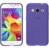 Silikon Hülle Galaxy Core Prime transparent lila + 2 Schutzfolien