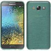 Silikon Hülle Galaxy E5 brushed grün + 2 Schutzfolien