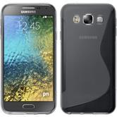 Silikon Hülle Galaxy E5 S-Style grau + 2 Schutzfolien