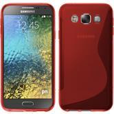 Silikon Hülle Galaxy E5 S-Style rot + 2 Schutzfolien