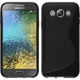 Silikon Hülle Galaxy E5 S-Style schwarz + 2 Schutzfolien