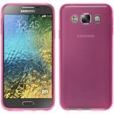 Silikon Hülle Galaxy E5 transparent rosa + 2 Schutzfolien
