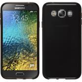 Silikon Hülle Galaxy E5 transparent schwarz + 2 Schutzfolien