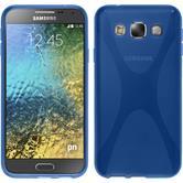 Silikon Hülle Galaxy E5 X-Style blau + 2 Schutzfolien