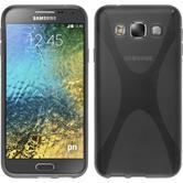 Silikon Hülle Galaxy E5 X-Style grau + 2 Schutzfolien