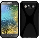 Silikon Hülle Galaxy E5 X-Style schwarz + 2 Schutzfolien