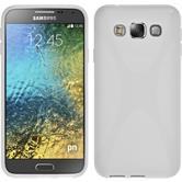 Silikon Hülle Galaxy E5 X-Style weiß + 2 Schutzfolien
