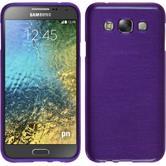 Silikon Hülle Galaxy E7 brushed lila + 2 Schutzfolien