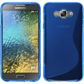 Silikon Hülle Galaxy E7 S-Style blau + 2 Schutzfolien