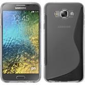 Silikon Hülle Galaxy E7 S-Style grau + 2 Schutzfolien