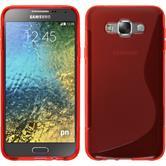 Silikon Hülle Galaxy E7 S-Style rot + 2 Schutzfolien