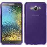 Silikon Hülle Galaxy E7 transparent lila + 2 Schutzfolien