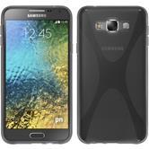 Silikon Hülle Galaxy E7 X-Style grau + 2 Schutzfolien