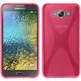Silikon Hülle Galaxy E7 X-Style pink + 2 Schutzfolien