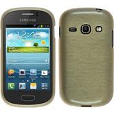Silikon Hülle Galaxy Fame brushed gold + 2 Schutzfolien