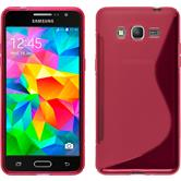 Silikon Hülle Galaxy Grand Prime S-Style pink + 2 Schutzfolien