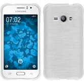 Silikon Hülle Galaxy J1 ACE brushed weiß + 2 Schutzfolien