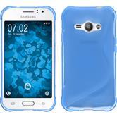 Silikon Hülle Galaxy J1 ACE S-Style blau + 2 Schutzfolien