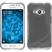 Silikon Hülle Galaxy J1 ACE S-Style grau + 2 Schutzfolien