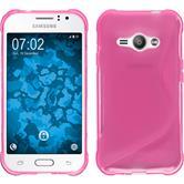 Silikon Hülle Galaxy J1 ACE S-Style pink + 2 Schutzfolien