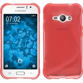 Silikon Hülle Galaxy J1 ACE S-Style rot + 2 Schutzfolien
