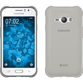 Silikon Hülle Galaxy J1 ACE Slimcase grau + 2 Schutzfolien
