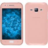 Silikon Hülle Galaxy J1 (2015 - J100) 360° Fullbody rosa + 2 Schutzfolien