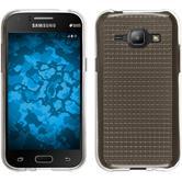 Silikon Hülle Galaxy J1 (2015 - J100) Iced grau + 2 Schutzfolien