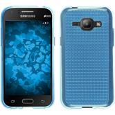 Silikon Hülle Galaxy J1 (2015 - J100) Iced hellblau + 2 Schutzfolien