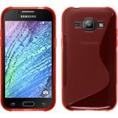 Silikon Hülle Galaxy J1 (2015 - J100) S-Style rot + 2 Schutzfolien