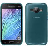 Silikon Hülle Galaxy J1 (2015 - J100) transparent türkis + 2 Schutzfolien