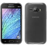 Silikon Hülle Galaxy J1 (2015 - J100) transparent weiß + 2 Schutzfolien