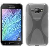 Silikon Hülle Galaxy J1 (2015 - J100) X-Style clear + 2 Schutzfolien